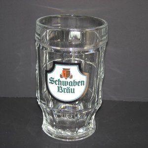 SCHWABEN BRAU SOHM BEER HEAVY DIMPLED GLASS MUG